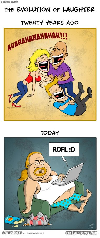 The Evolution of Laughter - A cartoon by C-Section Comics