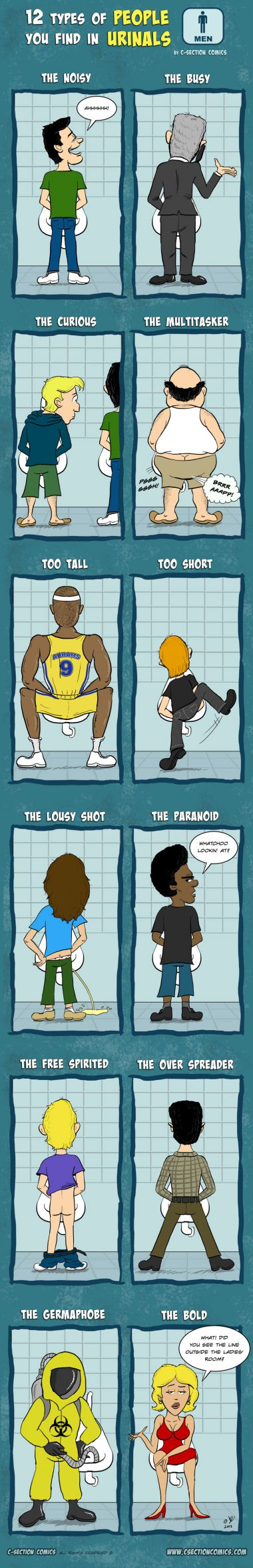 12 Types of People You Find in Urinals - By C-Section Comics