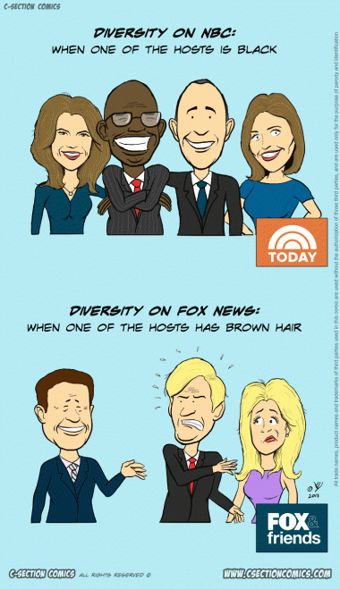 Diversity in NBC vs Fox News - cartoon by C-Section Comics
