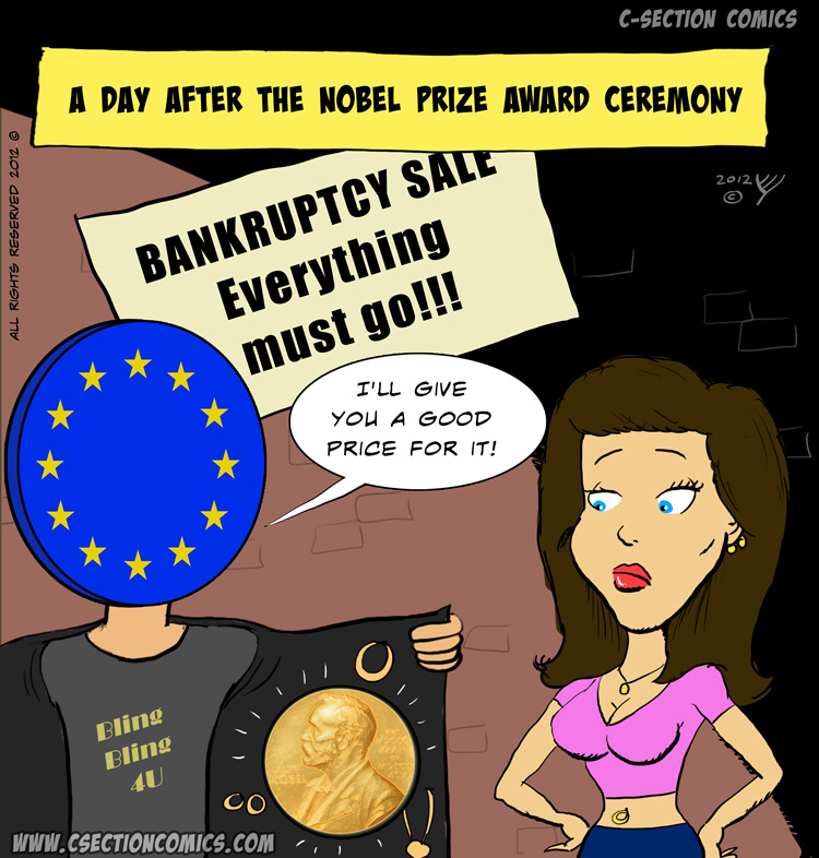 EU Awarded Nobel Peace Prize - Cartoon