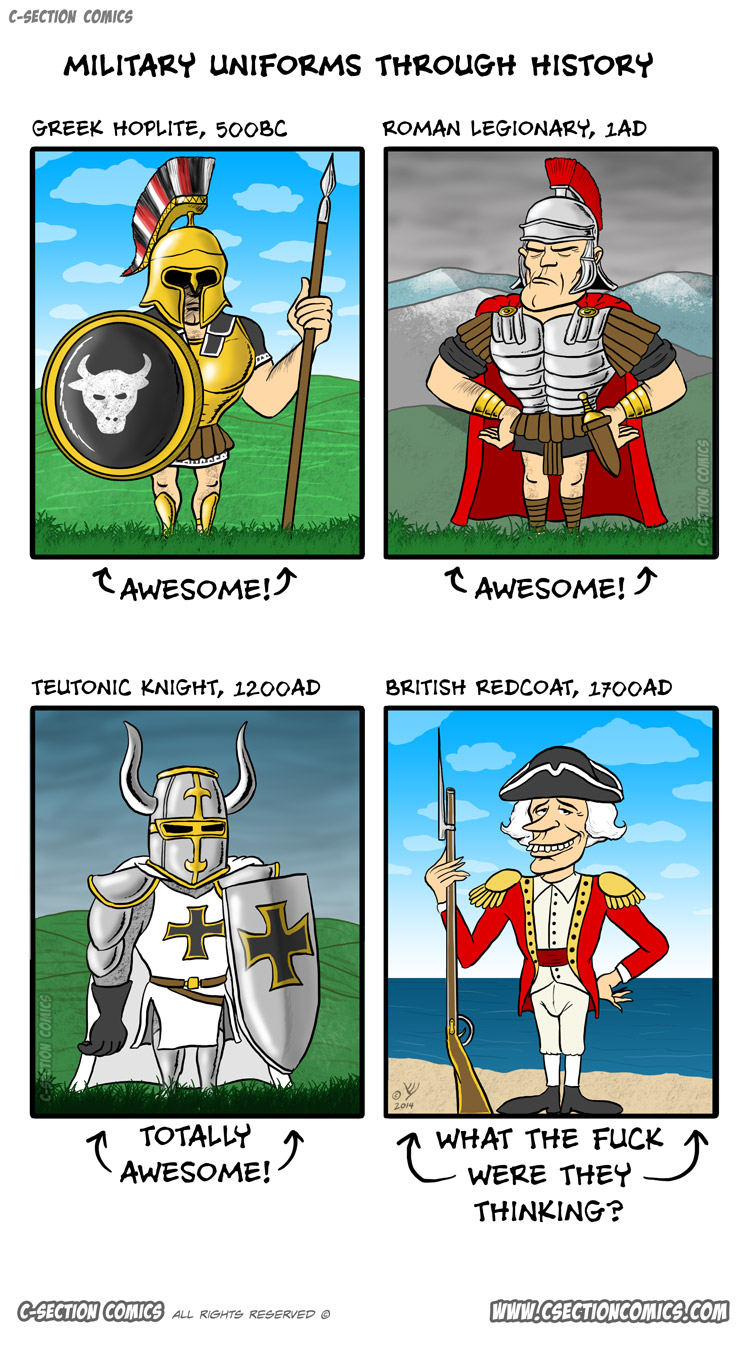 Military Uniforms Through History - cartoon by C-Section Comics