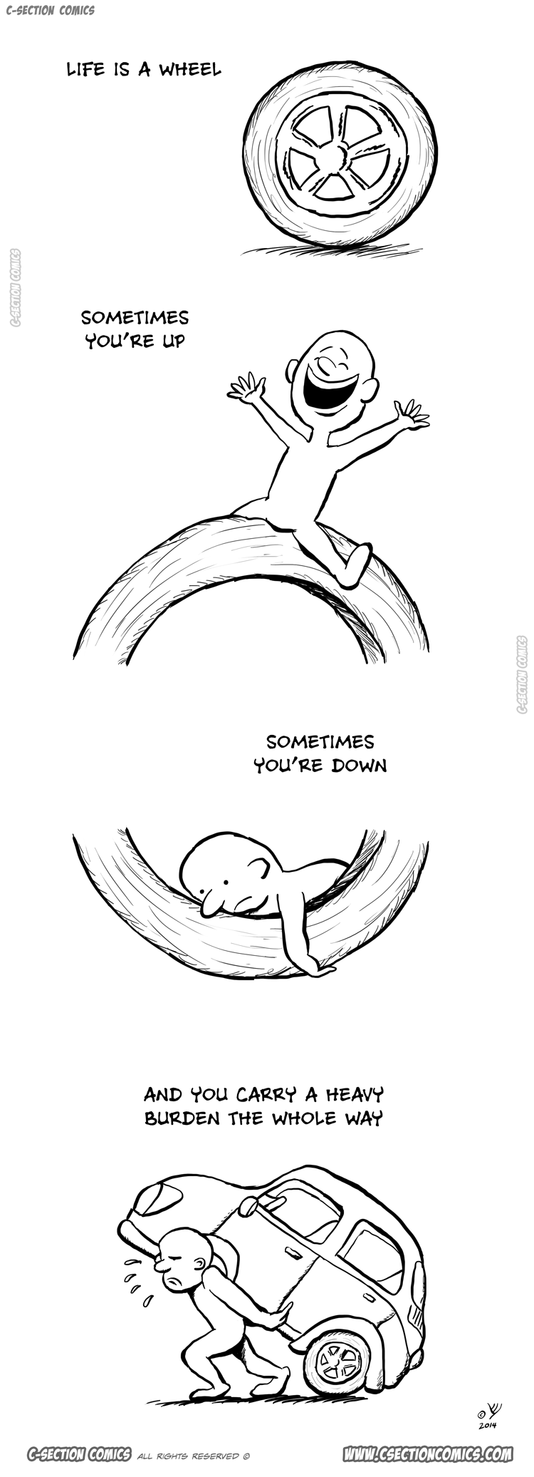 Life Is a Wheel - a motivation cartoon by C-Section Comics