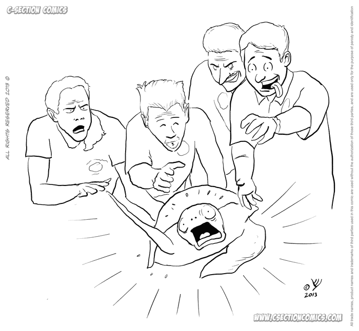 Four men and a turtle