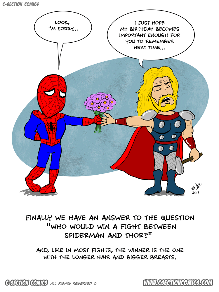Spider-Man vs. Thor - a cartoon by C-Section Comics