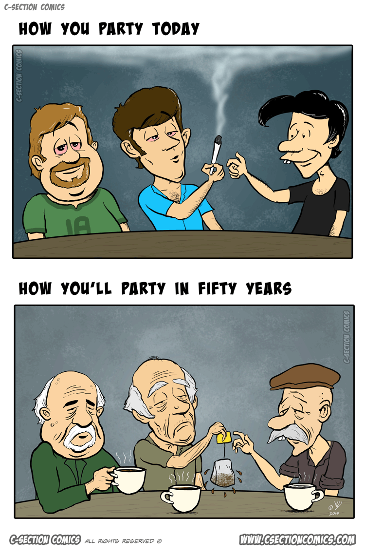 How You Party Today vs. in Fifty Years - Cartoon by C-Section Comics