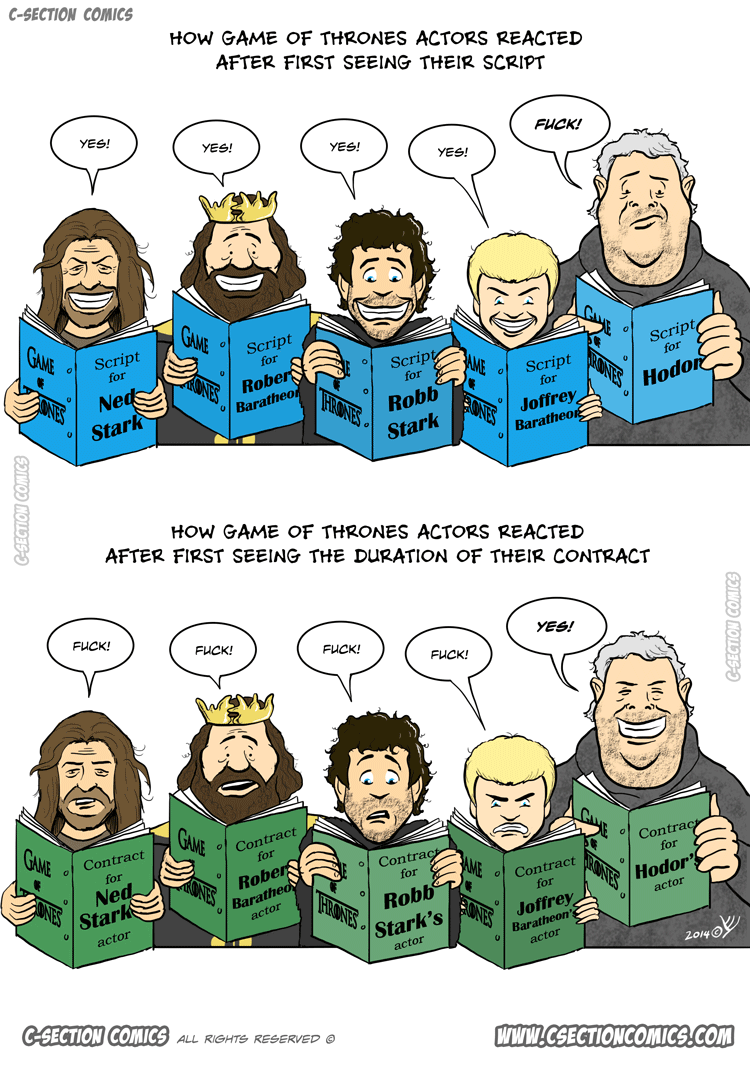 How Game of Thrones Actors React - Cartoon by C-Section Comics