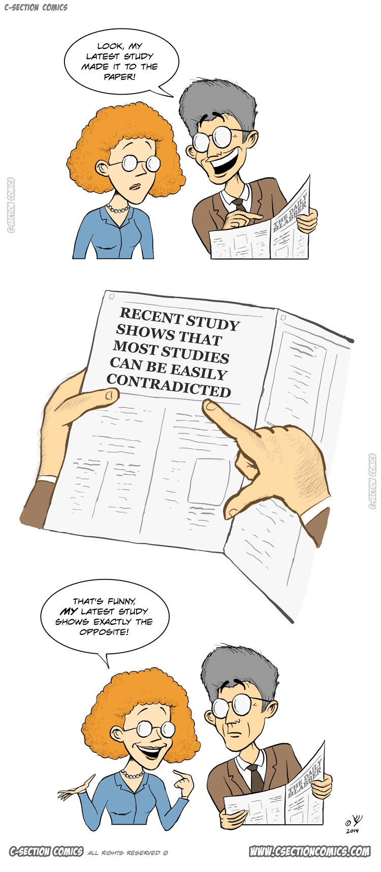 This Latest Study Will Knock You off Your Feet - cartoon by C-Section Comics
