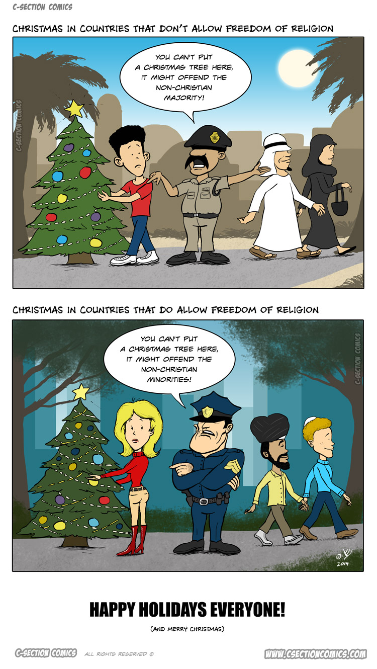 Christmas & Freedom of Religion - cartoon by C-Section Comics