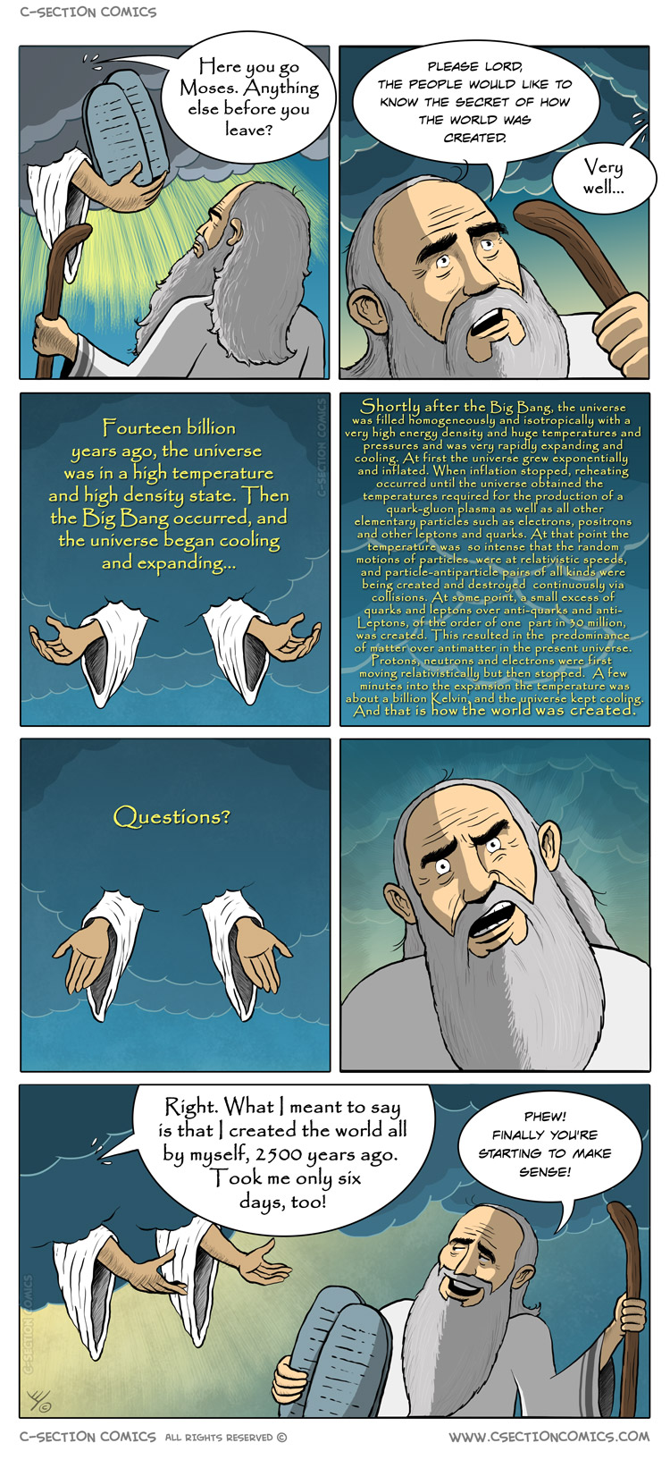 Moses Leans How God Created the World - by C-Section Comics