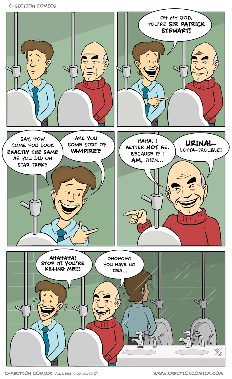 Patrick Stewart Urinals Cartoon - by C-Section Comics