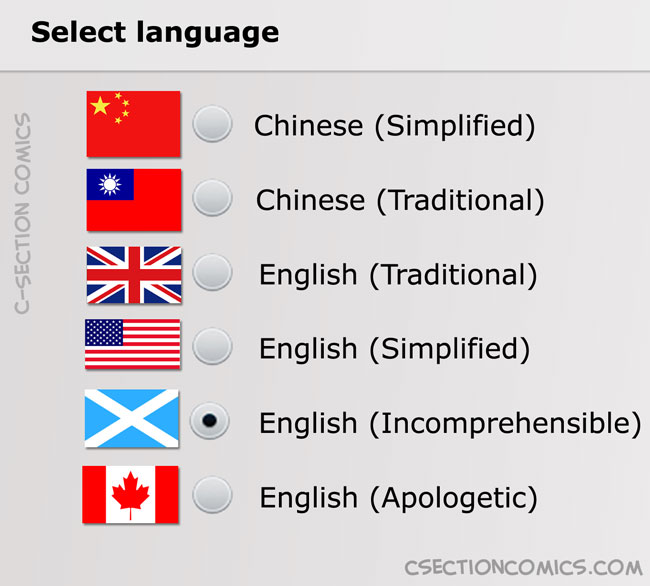 Scottish English Incomprehensible - Canadian English Apologetic - UK English Traditional - US English Simplified