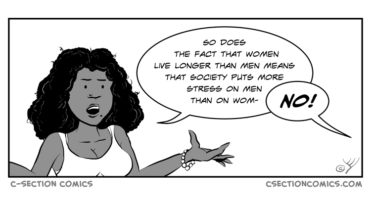 Why do men die younger than women - cartoon by C-Section Comics