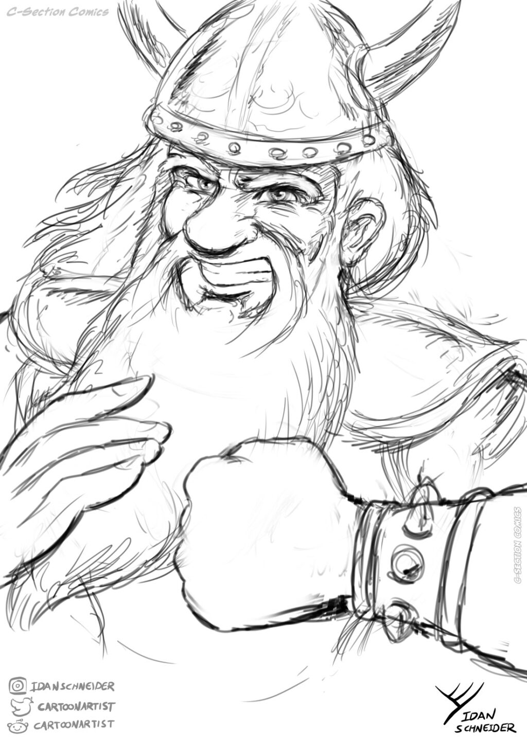 Dwarf warrior - pencil sketch